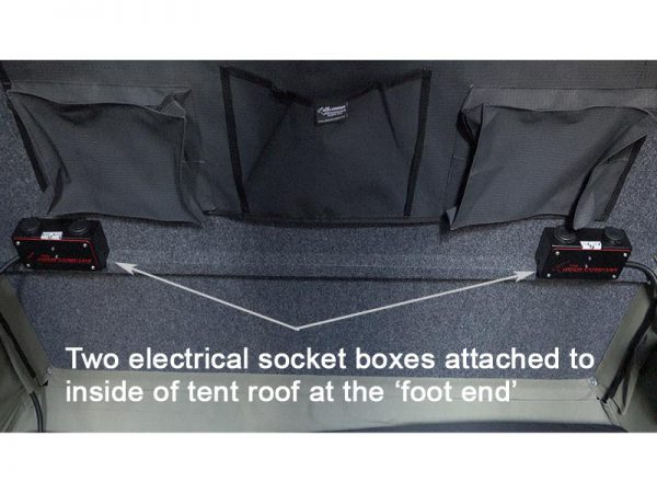 ALPHA Clamshell Rooftop Tent Electric box two sockets view