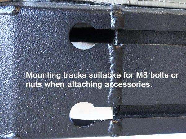 ALPHA Clamshell Rooftop Tent Mounting tracks pre slotted for M8 bolt