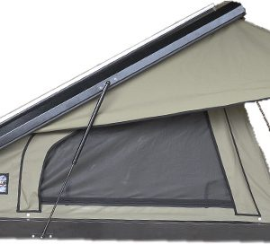 Black Series Clamshell Rooftop Tent Open Side with midge mesh