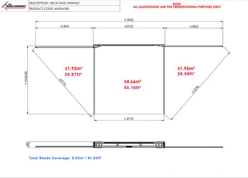 180 XT MAX Awning Frame Dimensions